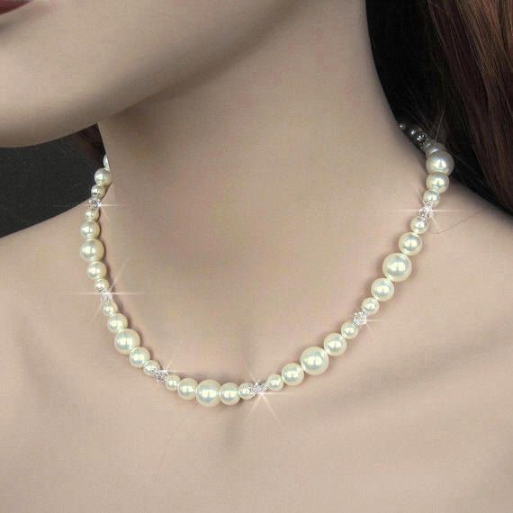Pearl Bridal Necklace Pearl and Crystal by NaturesWildJewels