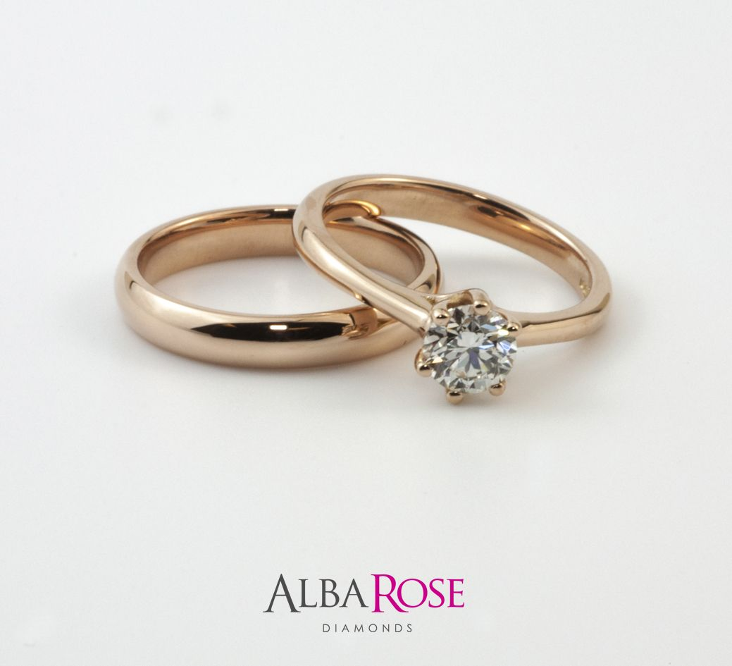 Alba Rose - Diamond engagement ring and rose gold wedding ring  #goldeverything #simpleandsweet