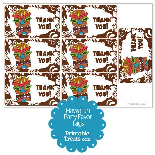 Brown Tiki Mask Party Favor Tags from PrintableTreats.com
