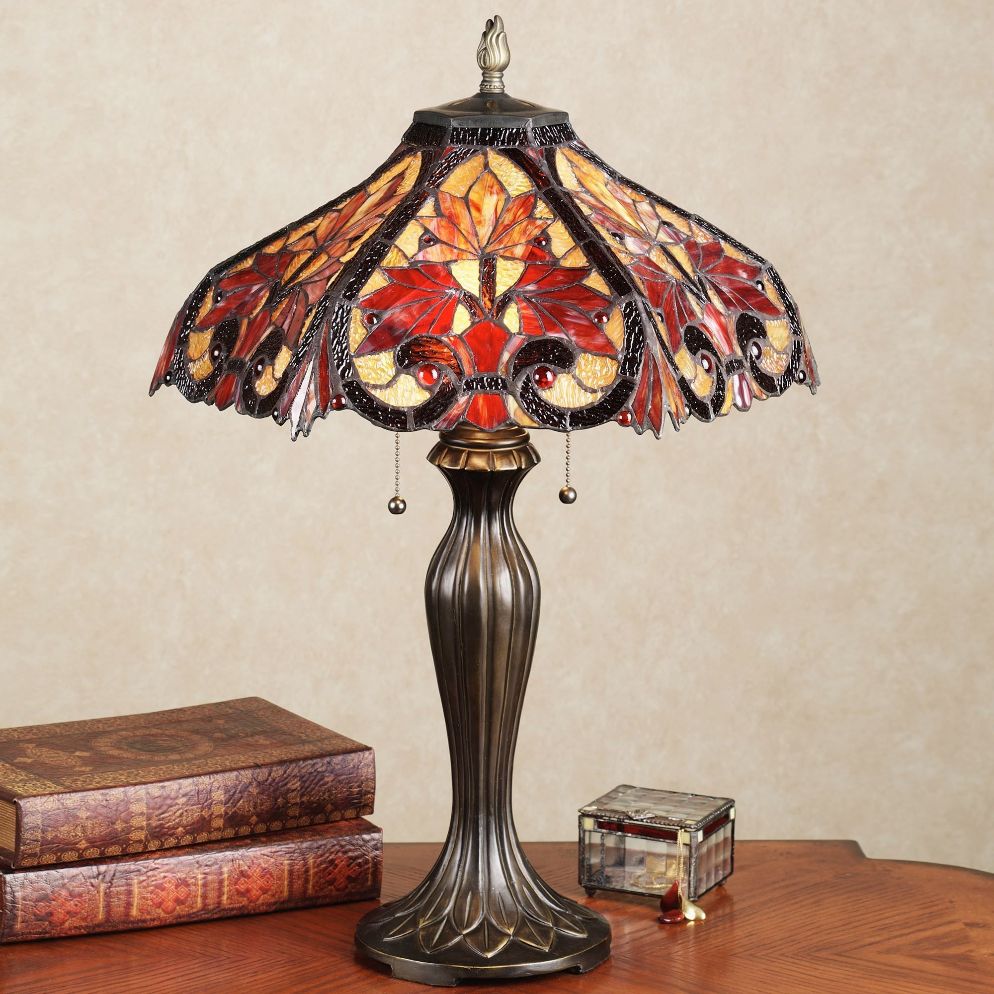 Whispering Foliage Stained Gl Table Lamp With Led Bulbs