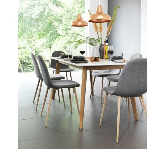 buy hygena beni dining table and 6 chairs grey at argoscouk
