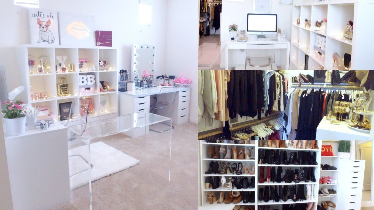 BEAUTY, OFFICE & CLOSET ROOM TOUR!  BEAUTYYBIRD  Makeup room