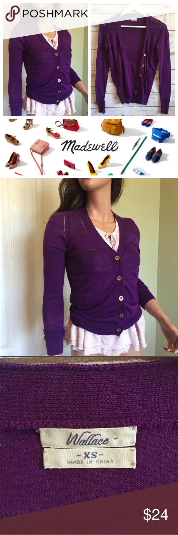 MADEWELL WALLACE Purple Cardigan | Madewell, Cotton and Gold
