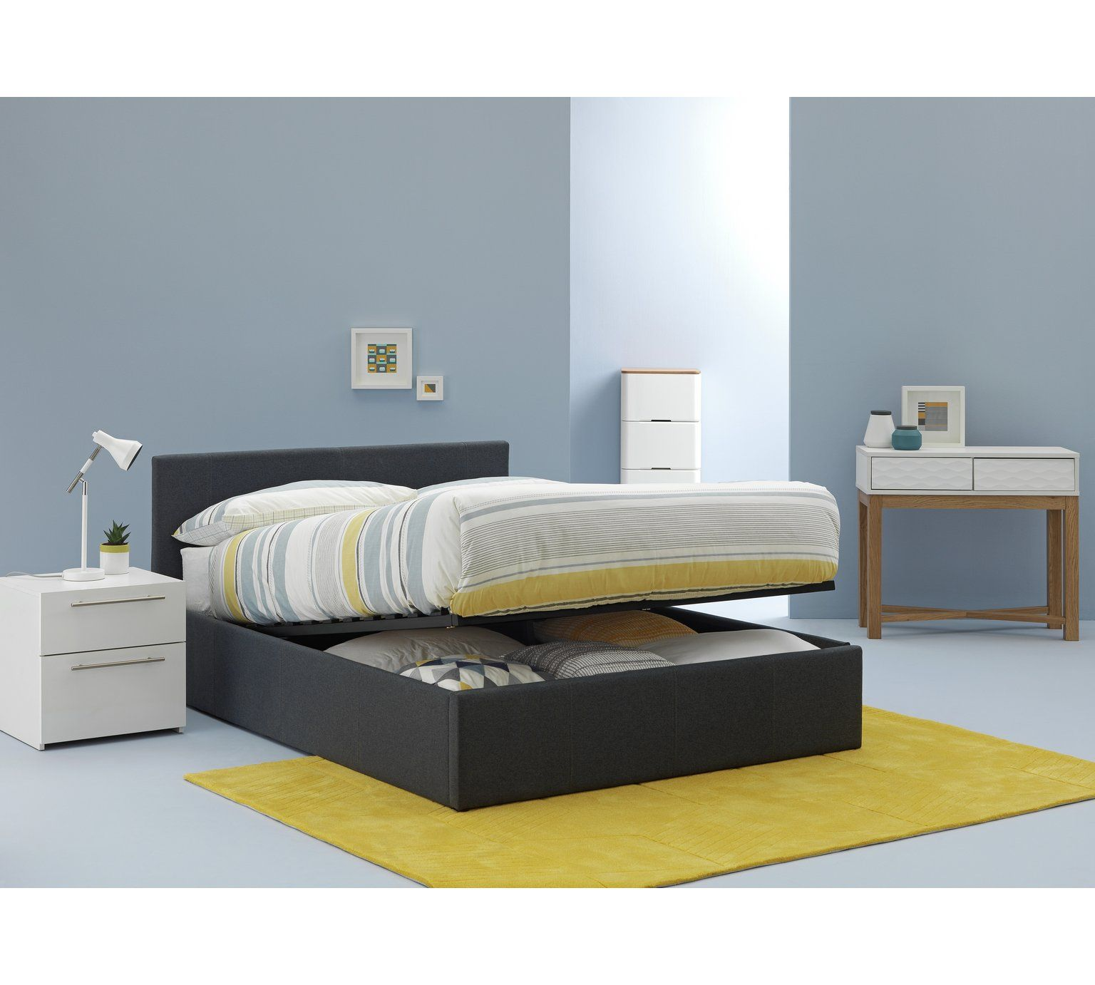 Astounding Buy Hygena Lavendon Kingsize Fabric Ottoman Bed Frame Grey Theyellowbook Wood Chair Design Ideas Theyellowbookinfo