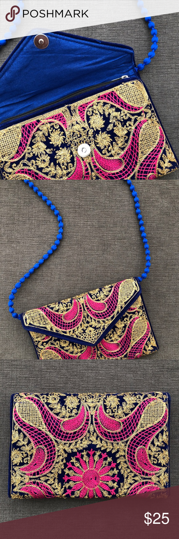 Embroidered clutch (gold/blue/pink). Made in India NWT