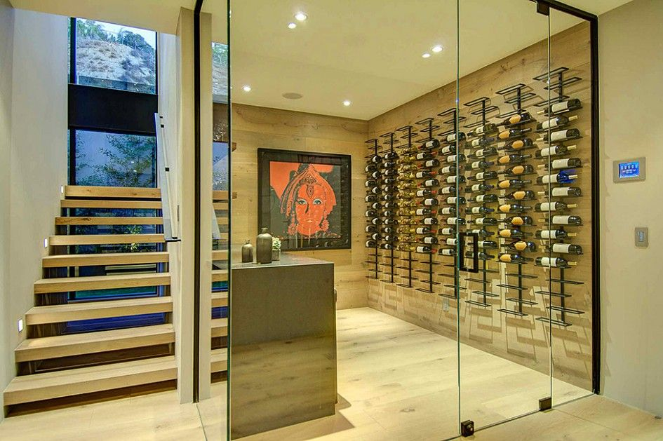 Home Wine Cellar Design Painting Interior Wine Cellar Glass Door Staircase Wooden Floor Windowpane .