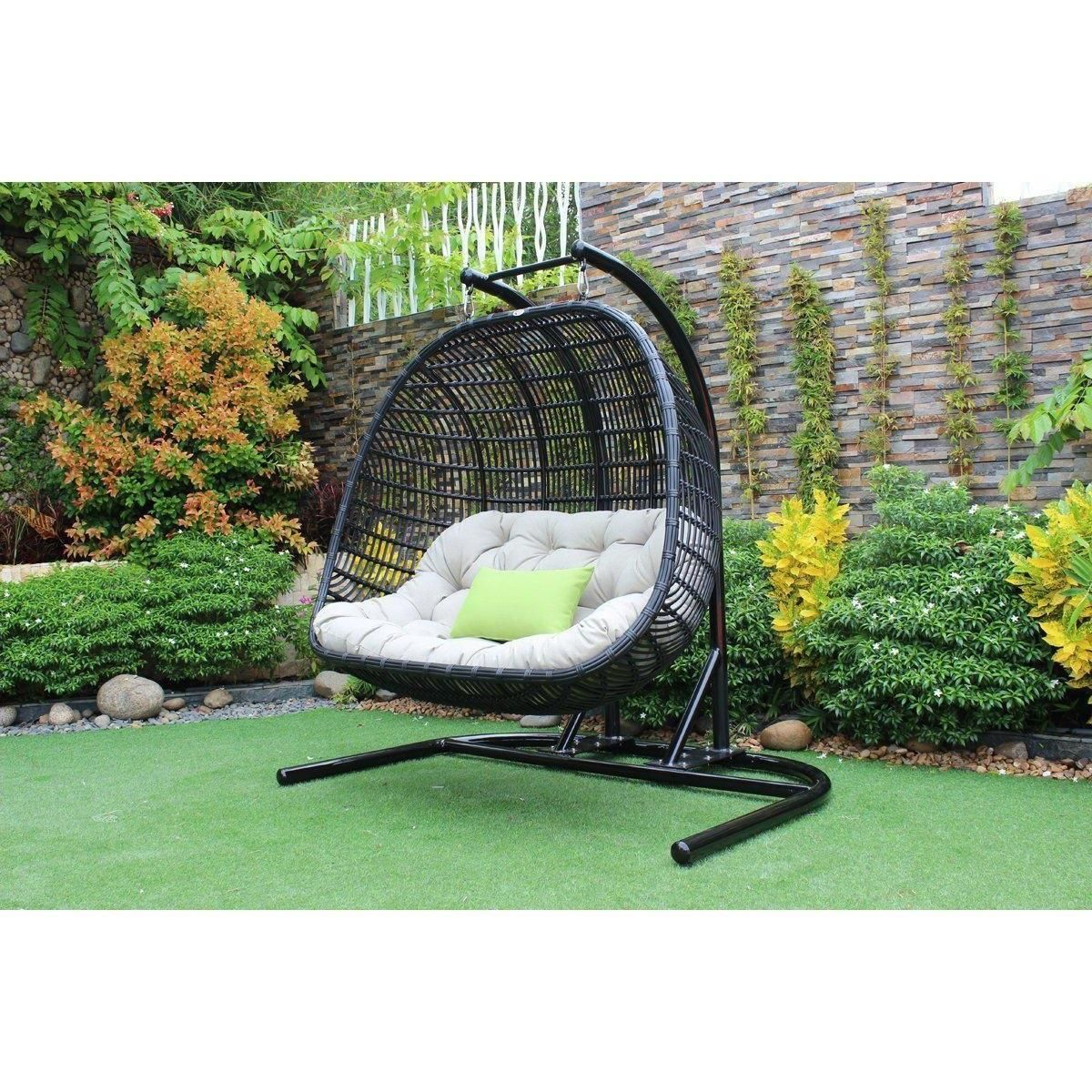 Renava san juan outdoor black u beige hanging chair hanging chair