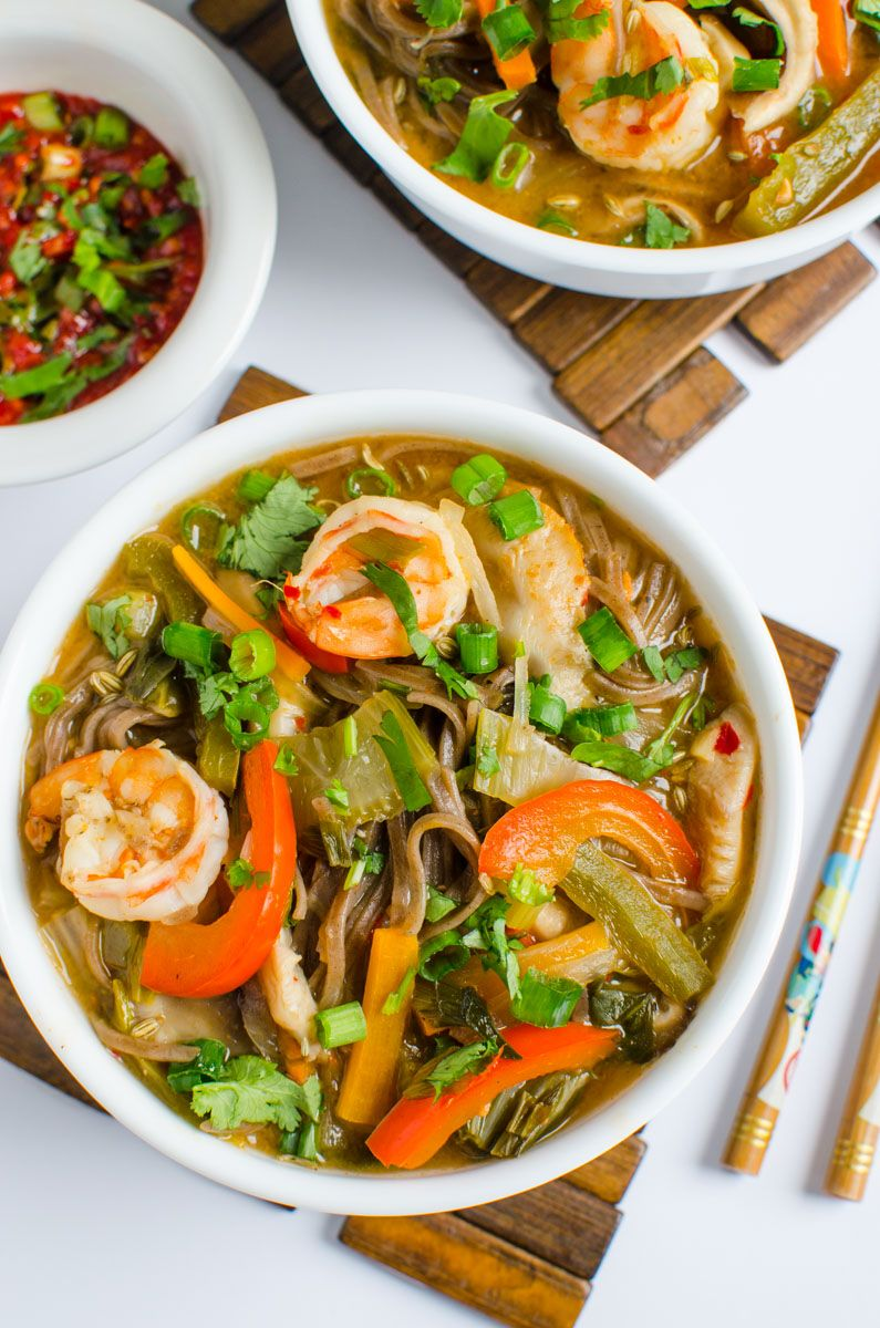 Asian Soba Noodle Soup With Shrimp & Vegetables   Recipe ...