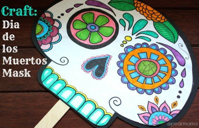 10 awesome Day of the Dead crafts for kids Craft, Spanish and School - copy dia de los muertos mask coloring pages
