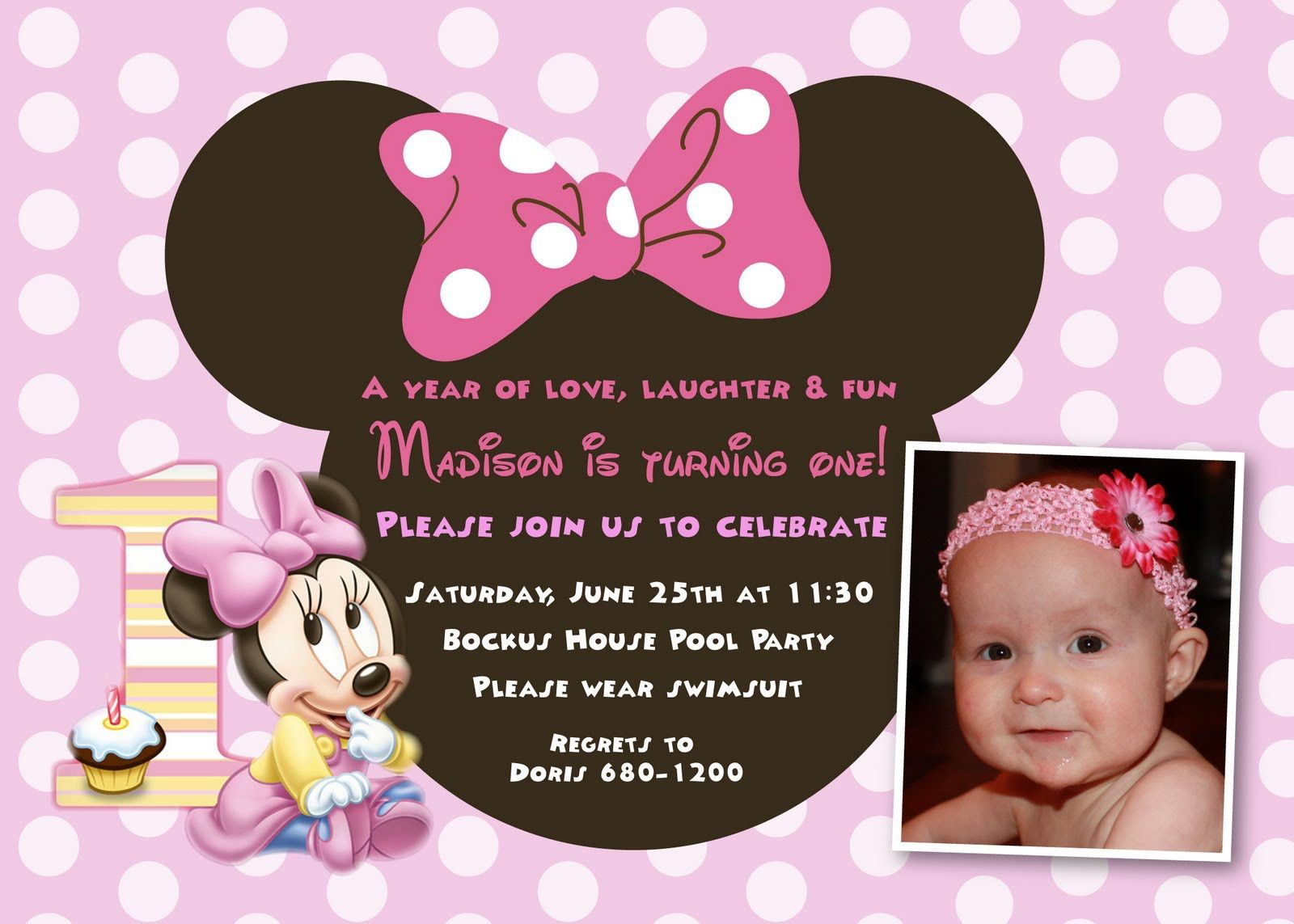cool Minnie Mouse First Birthday Invitations Designs | Invitations ...