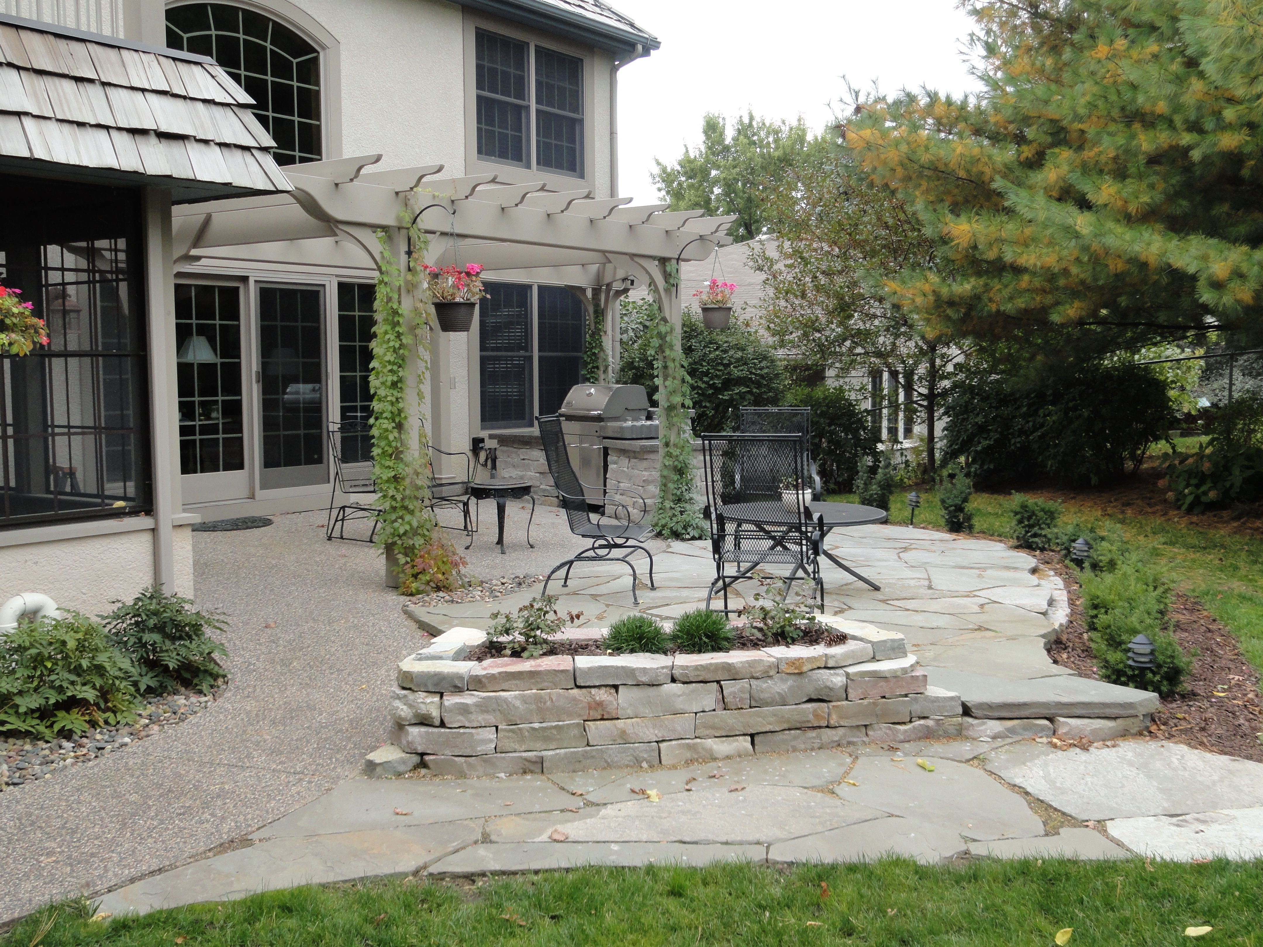 backyard stone terrace sustainable design projects pinterest