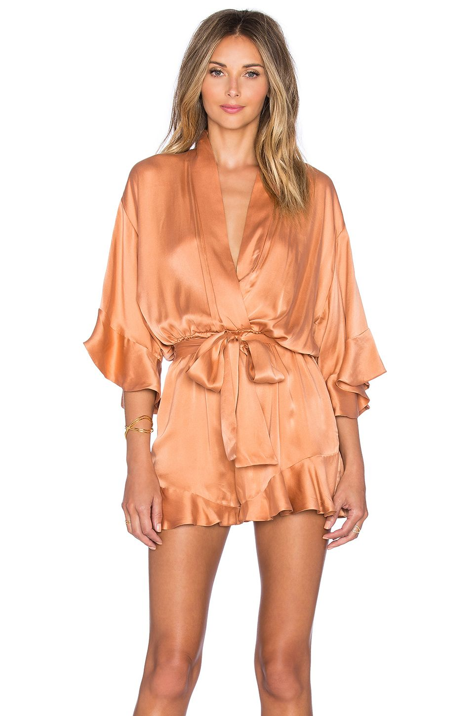 8e08942d7ae Zimmermann Empire Sueded Playsuit in Ochre