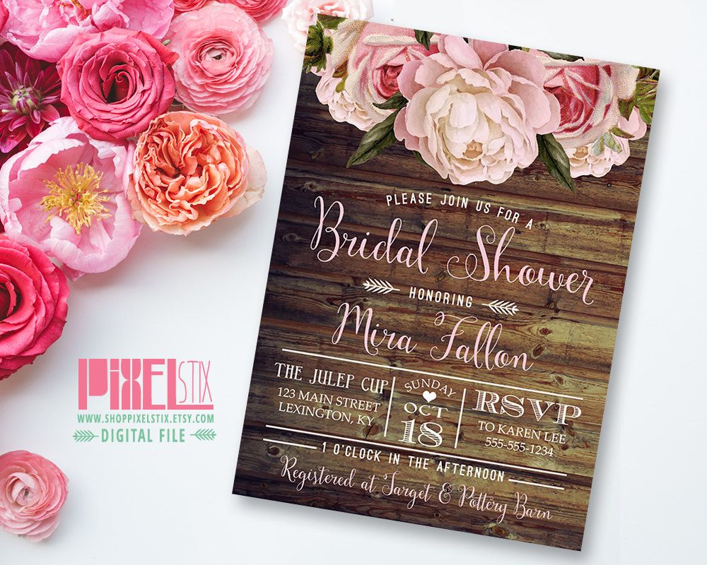 country style wedding shower ideas%0A Rustic Floral Bridal Shower Invitation  Shabby Chic Invite  Peony and Rose   Vintage Wood