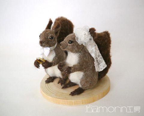 羊毛フェルト エゾリスのカップル の画像|morin工房ー羊毛フェルト人形作家