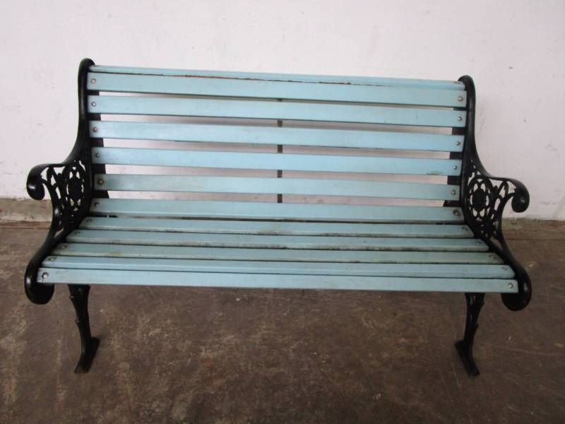 Vintage Outdoor Garden Bench Seat Painted Blue With Black Ornate Cast Iron  Endsfeet Solid And Sturdy