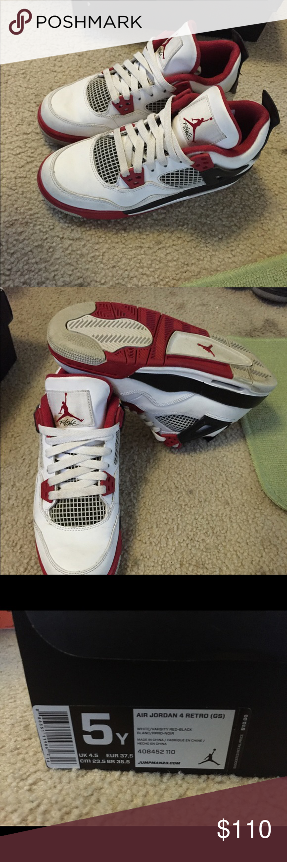 9b560c85c4fc Jordan fire red retro 5s Like new Jordan retro fire red 5s. Size 5.5 boys  and worn a few times. Air Jordan Shoes Sneakers