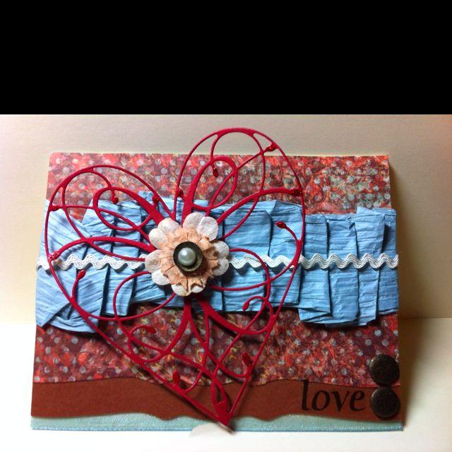 Valentine's Card - Memory Box heart die, Spellbinders die, scor-tape, candi-dots