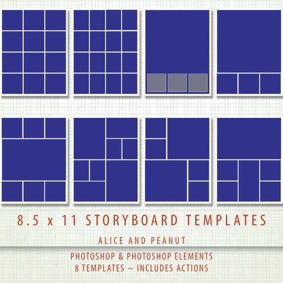 85x11 - 8 x PSD Storyboard Photographer  Digital Scrapbook