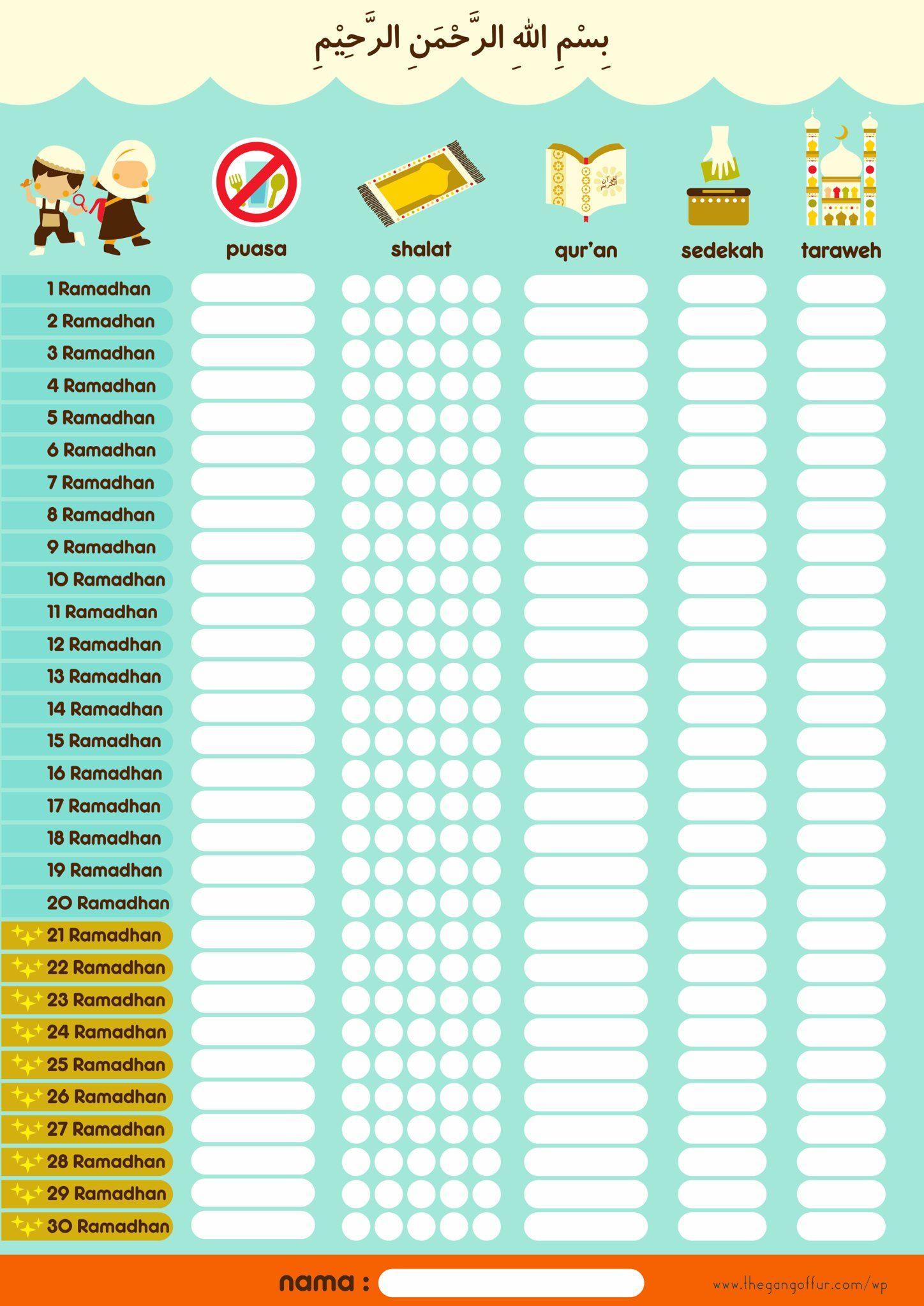 Ramadhan Chart With Images Ramadan Kids Ramadan Activities