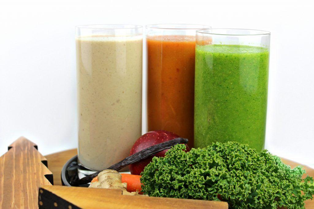 Winter Smoothie Rezepte vegan Saft Gemüse Obst Grünkohl Apfel Zimt Birne Vanille Karotte Dattel Mandelmilch Cashew