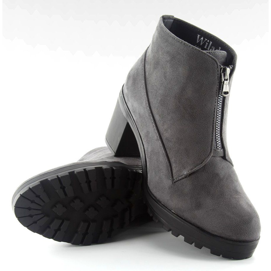 Botki Zamszowe Na Obcasie Szare 669 4 Grey Ugg Boots Boots Shoes