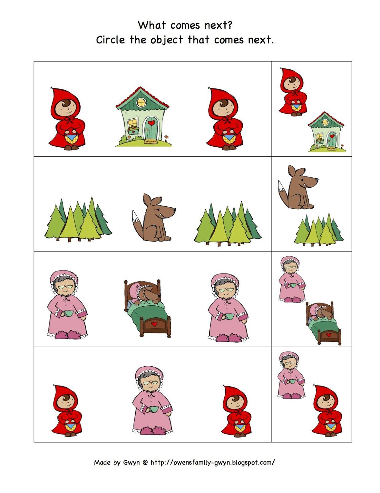 Preschool Printables Little Red Riding Hood Printable