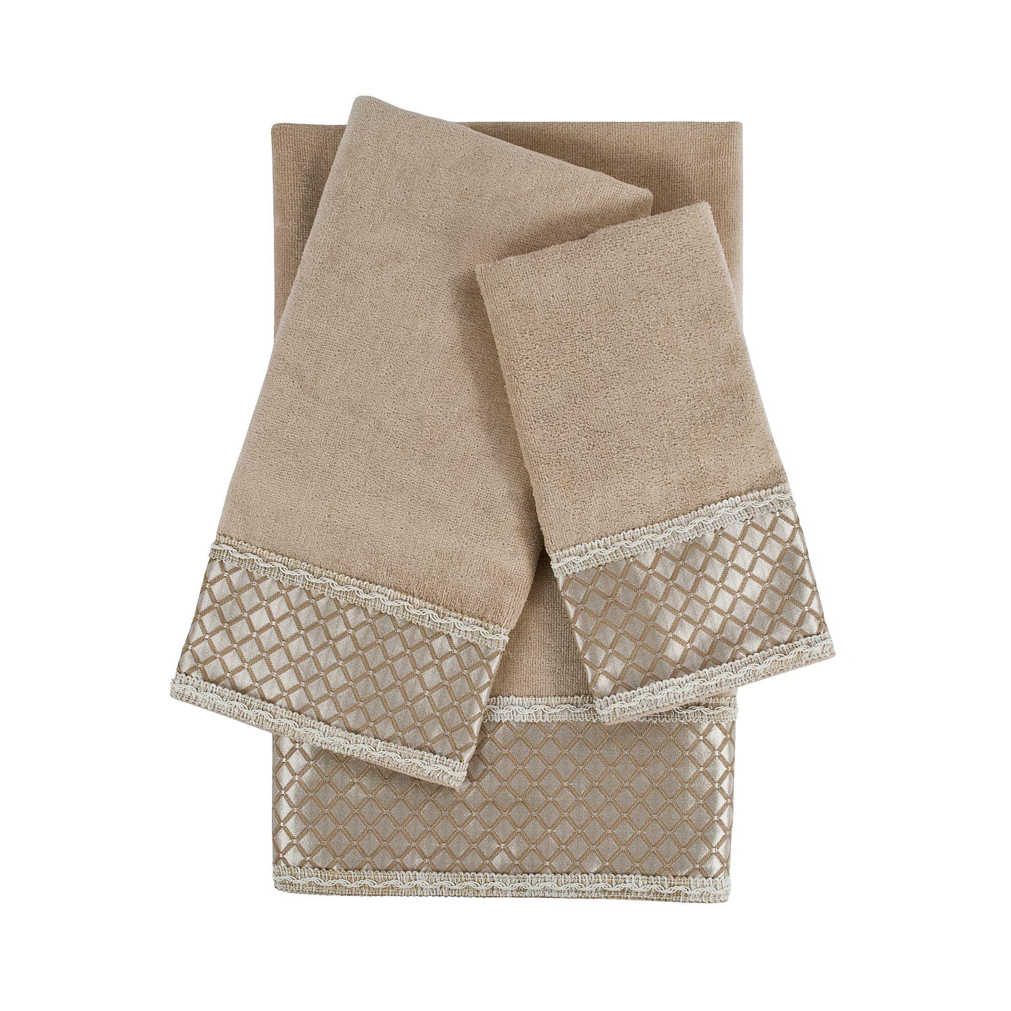 Sherry Kline Manor Taupe 3 Piece Decorative Embellished Towel Set Towel Set Towel Bath Towel Sets