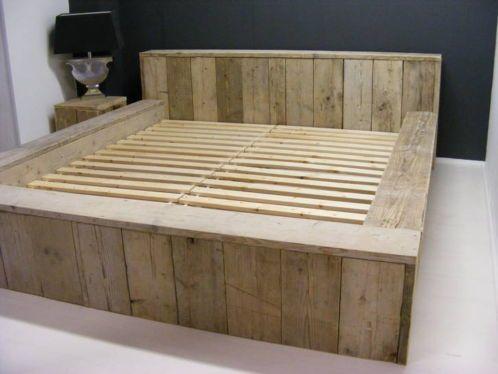 Marktplaats.nl - Tweepersoons bed STEIGERHOUT / bed / kast ...