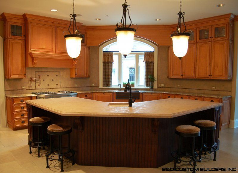 Octogon unique kitchen islands with seating kitchen for Different shaped kitchen island designs with seating
