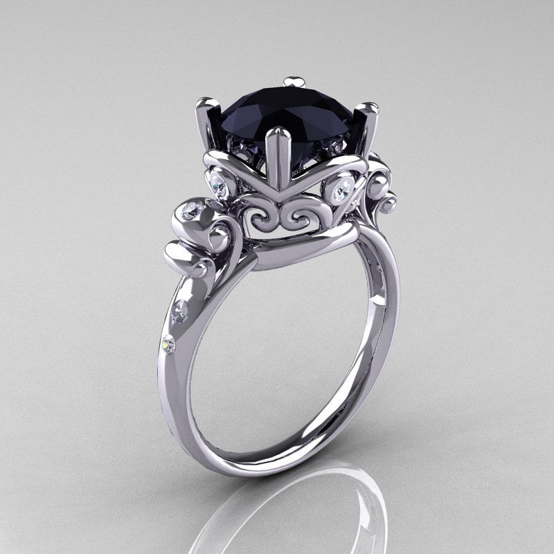 modern vintage 14k white gold 25 carat black onyx wedding engagement ring r167 14kwgdbo - Black Onyx Wedding Ring