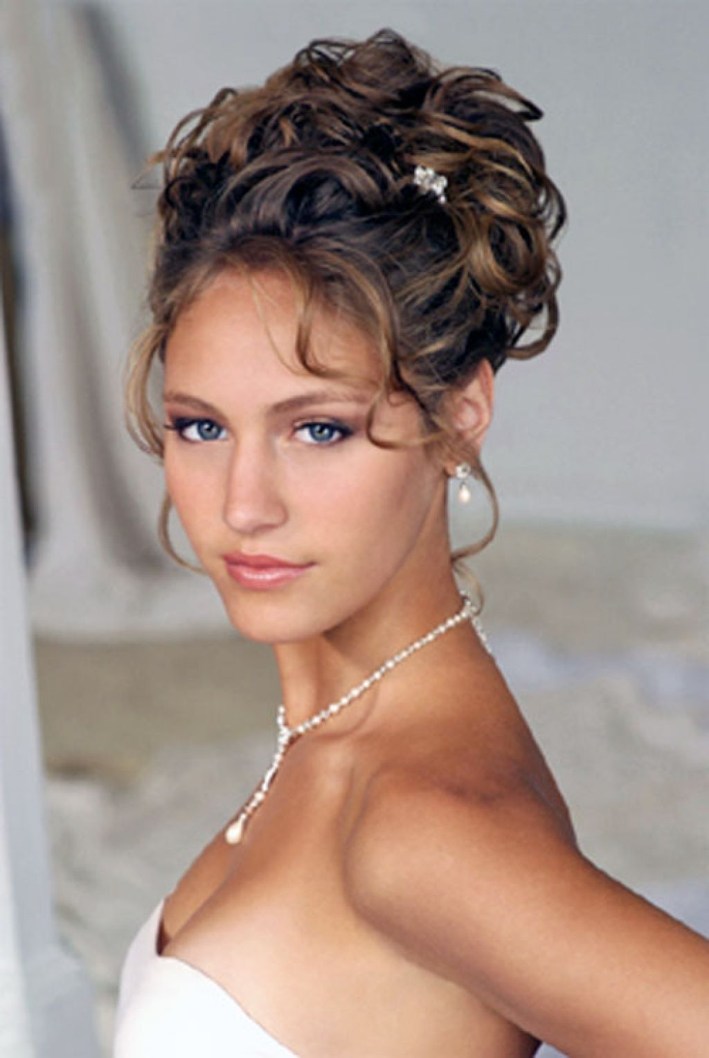 wedding hairstyle for curly medium length hair side updos for