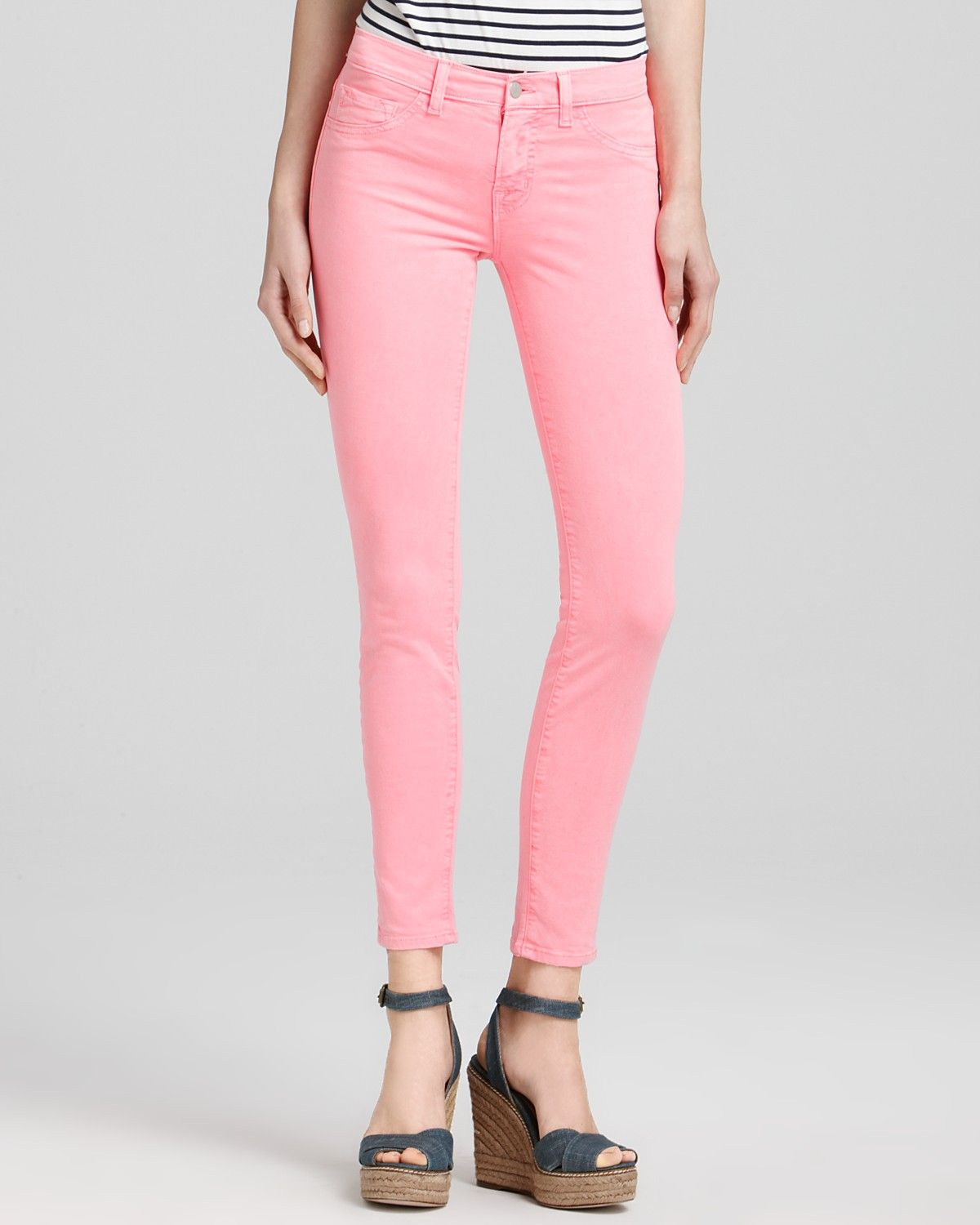 Fashion week Pink Neon skinny jeans for girls