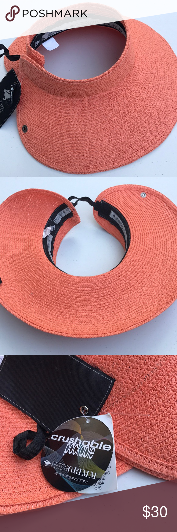 545a26751657e Peter Grimm Foldable Packable Straw Visor New with tags Orange straw visor  Peter Grimm Accessories Hats
