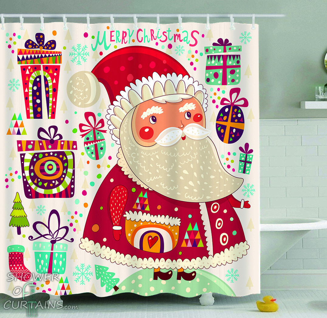 Colorful Santa Claus Shower Curtain - HXTC0616