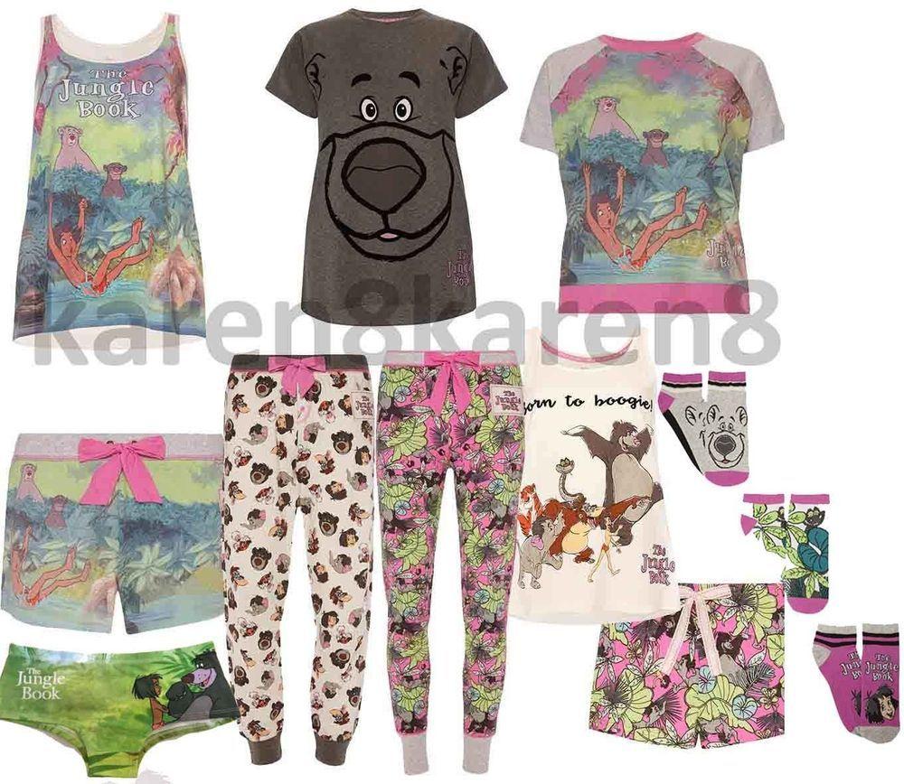 Ladies DISNEY JUNGLE BOOK Pyjamas Primark T Shirt Shorts Leggings Lounge Pant