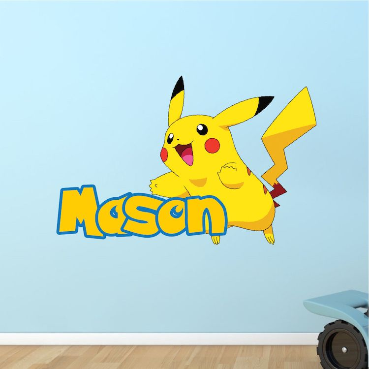Kids Custom Pikachu Pokemon Name Decal   Pokemon Room Themed Decor    Pikachu Stickers   Pokemon