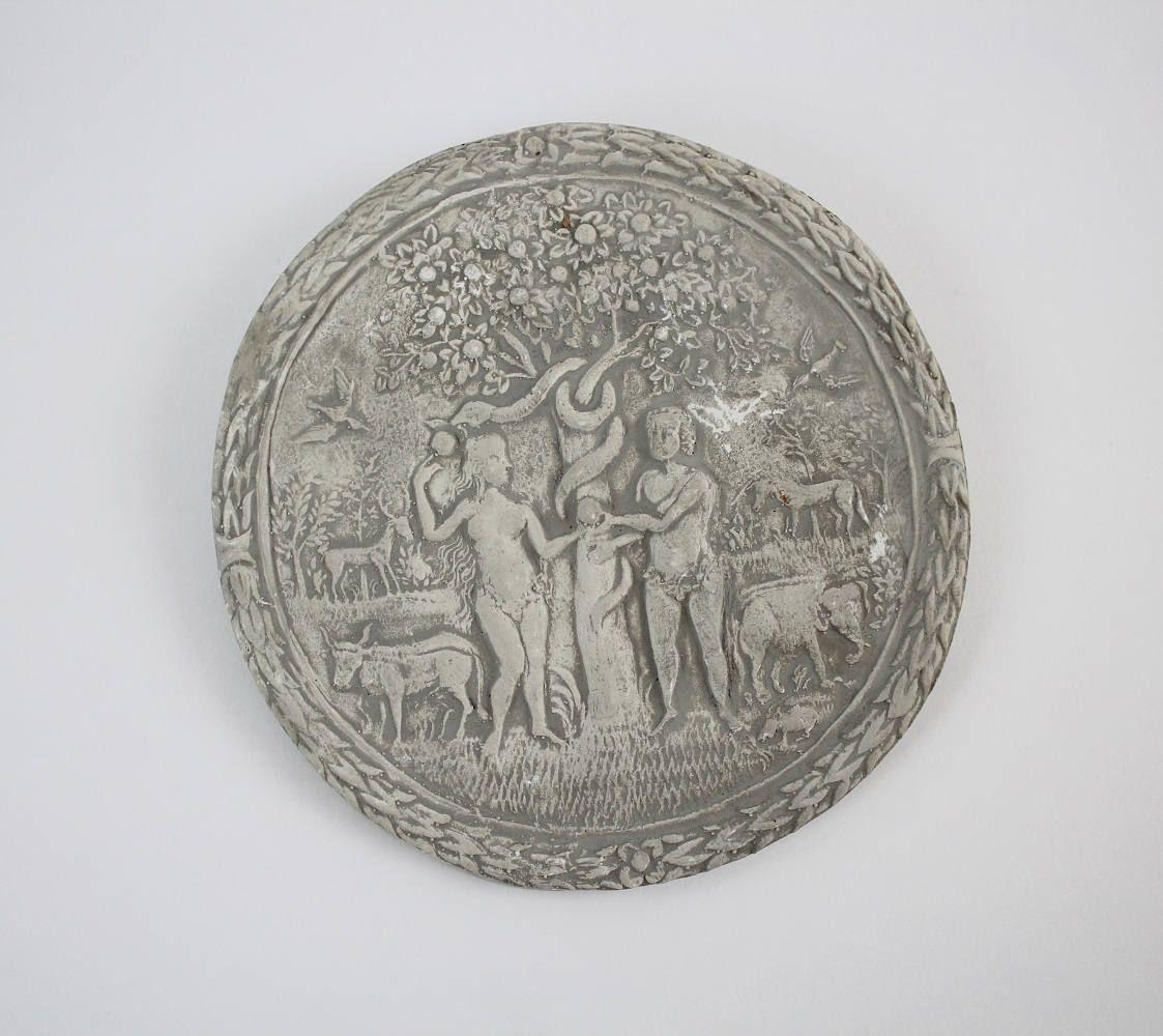 Vintage Chalkware Adam And Eve Plaque