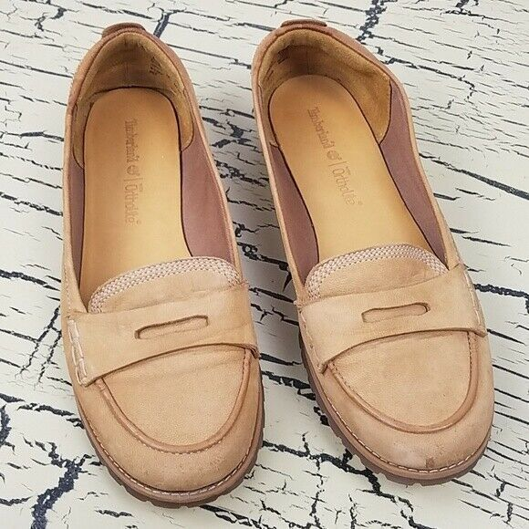 Vtg Timberland Ortholite Ladies Leather Flats Shoes Work Dress Casual Tan size 8