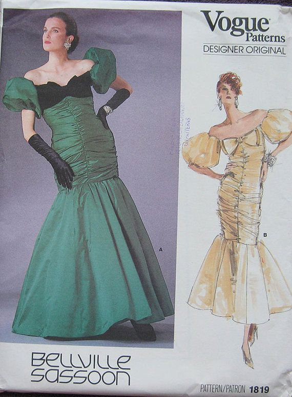 Vintage Vogue Evening Dress Gown Pattern Bellville Sassoon 1891 Size ...