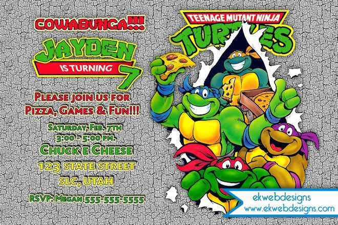 Teenage Mutant Ninja Turtles Birthday Invitation You Print