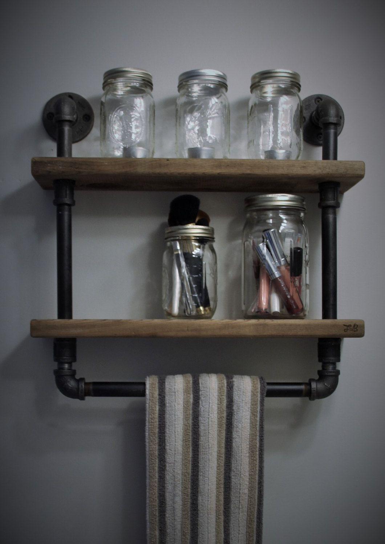 Bathroom Shelf, Rustic Towel Bar, Rustic Shelf, Bathroom Shelf, Bath ...
