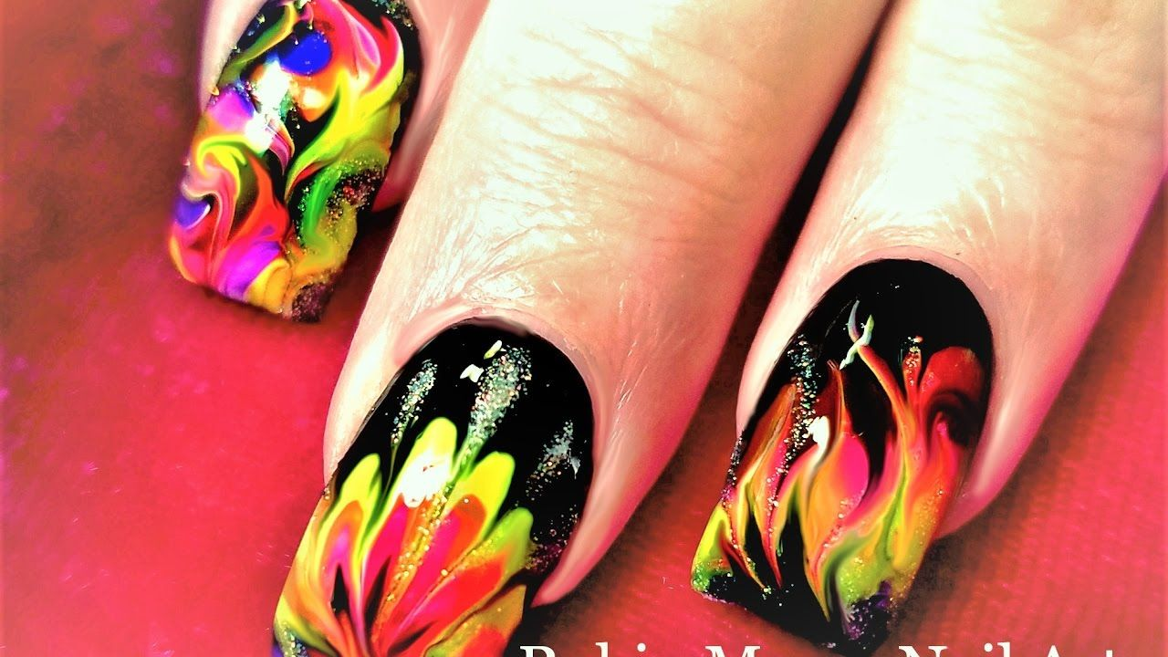 No Water Needed | Fire Drag Marble Nail Art Design Tutorial | robin ...