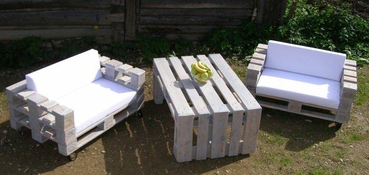 muebles de jardin blancos de palets de madera