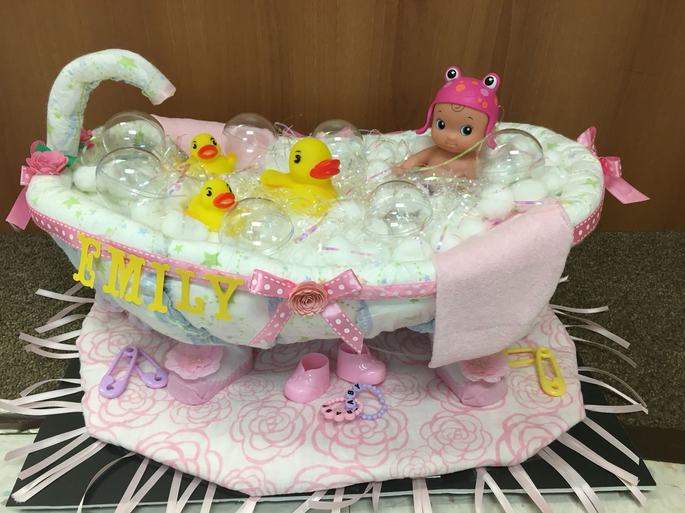 Made A Diaper Bathtub Out Of Diapers For A Co Worker