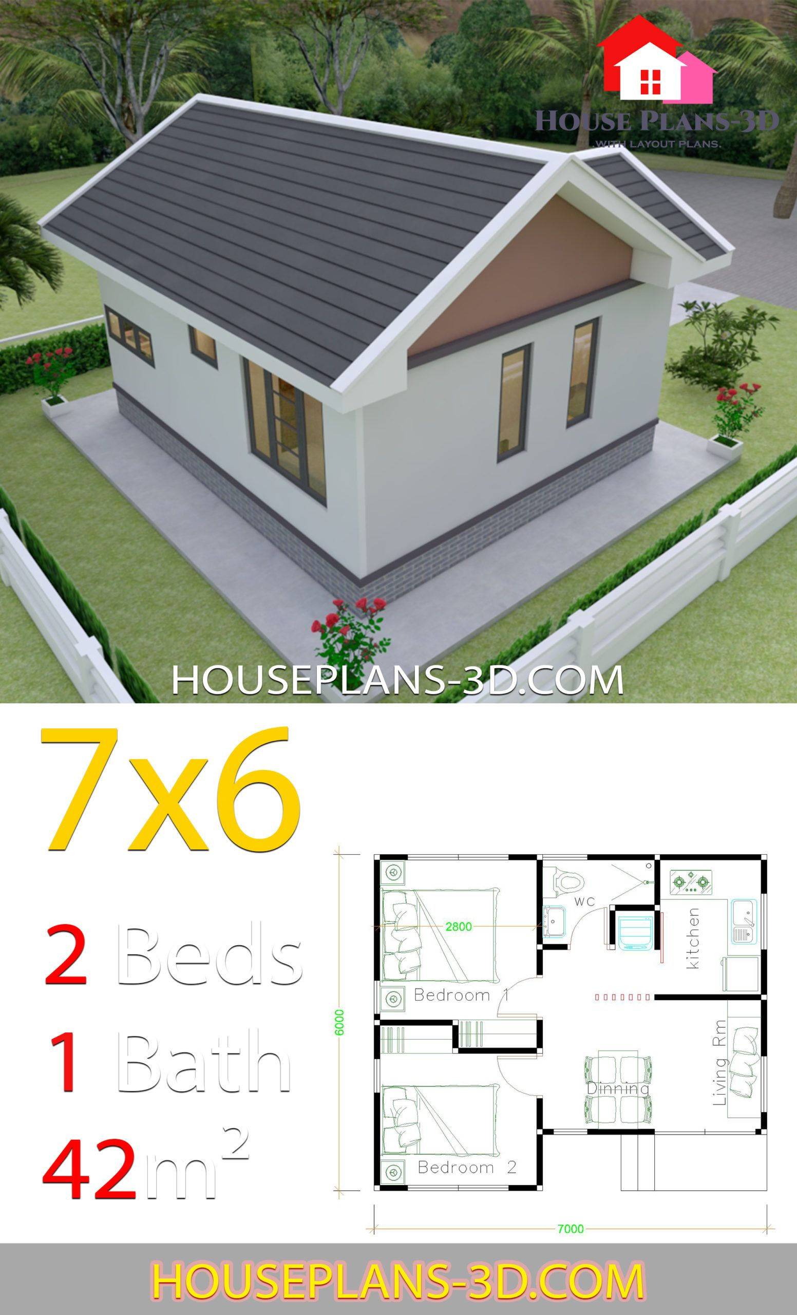 House Plans Design 7x6 With 2 Bedrooms Gable Roof House Plans 3d House Plans House Roof Gable Roof House