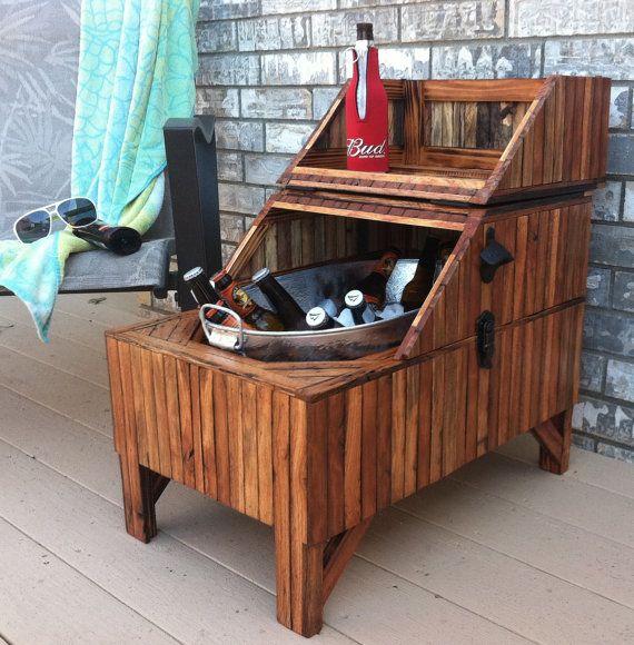 Wood Beer Cooler Reclaimed Oak Barn Wood Washtub by TerramaeAndCo - Wood Beer Cooler - Reclaimed Slatted Red Oak Barn Wood, Washtub