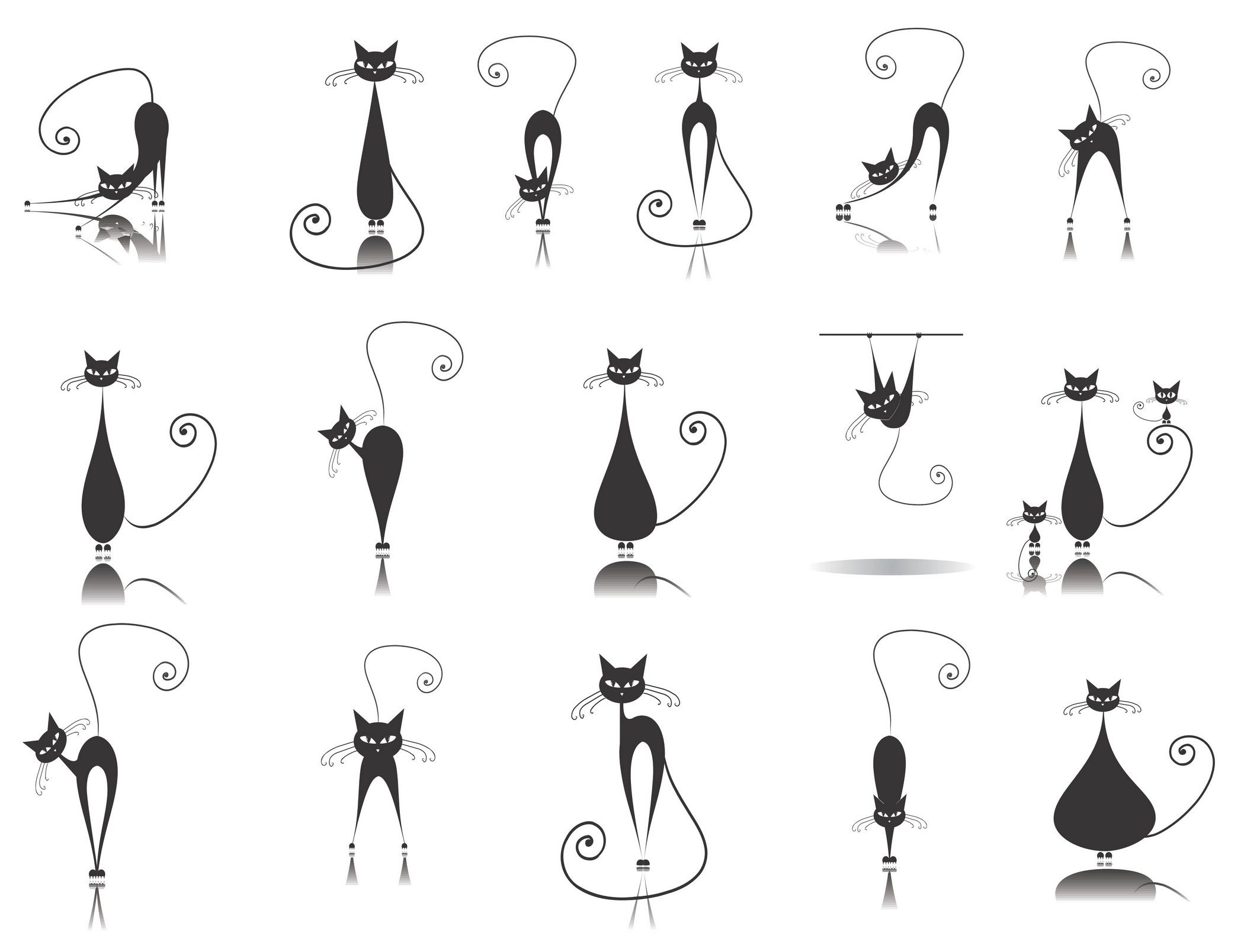 Cute cartoon animals [Cats] Vector EPS Free Download, Logo