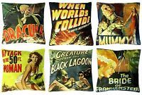 2 horror film cushion covers B movie Inc Dracula, Creature Black Lagoon, zombies