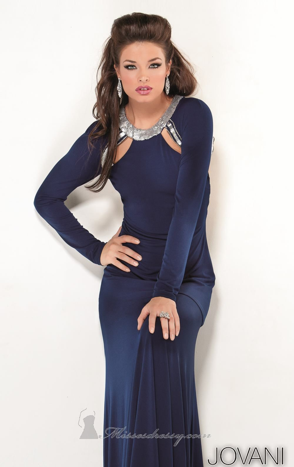 jovni dress blue navy long sleeves
