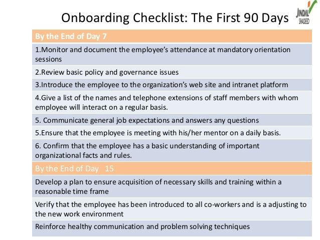 Onboarding Checklist The First 90 Daysby The End Of Day 71 Monitor